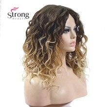 Di media lunghezza Kinky Blonde Ombre di Alta Resistente Al Calore Parrucca Sintetica Pieno