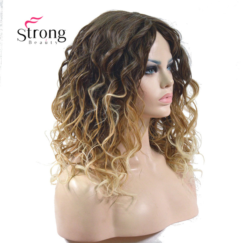 Medium Length Kinky Blonde Ombre High Heat Resistant Full Synthetic Wig