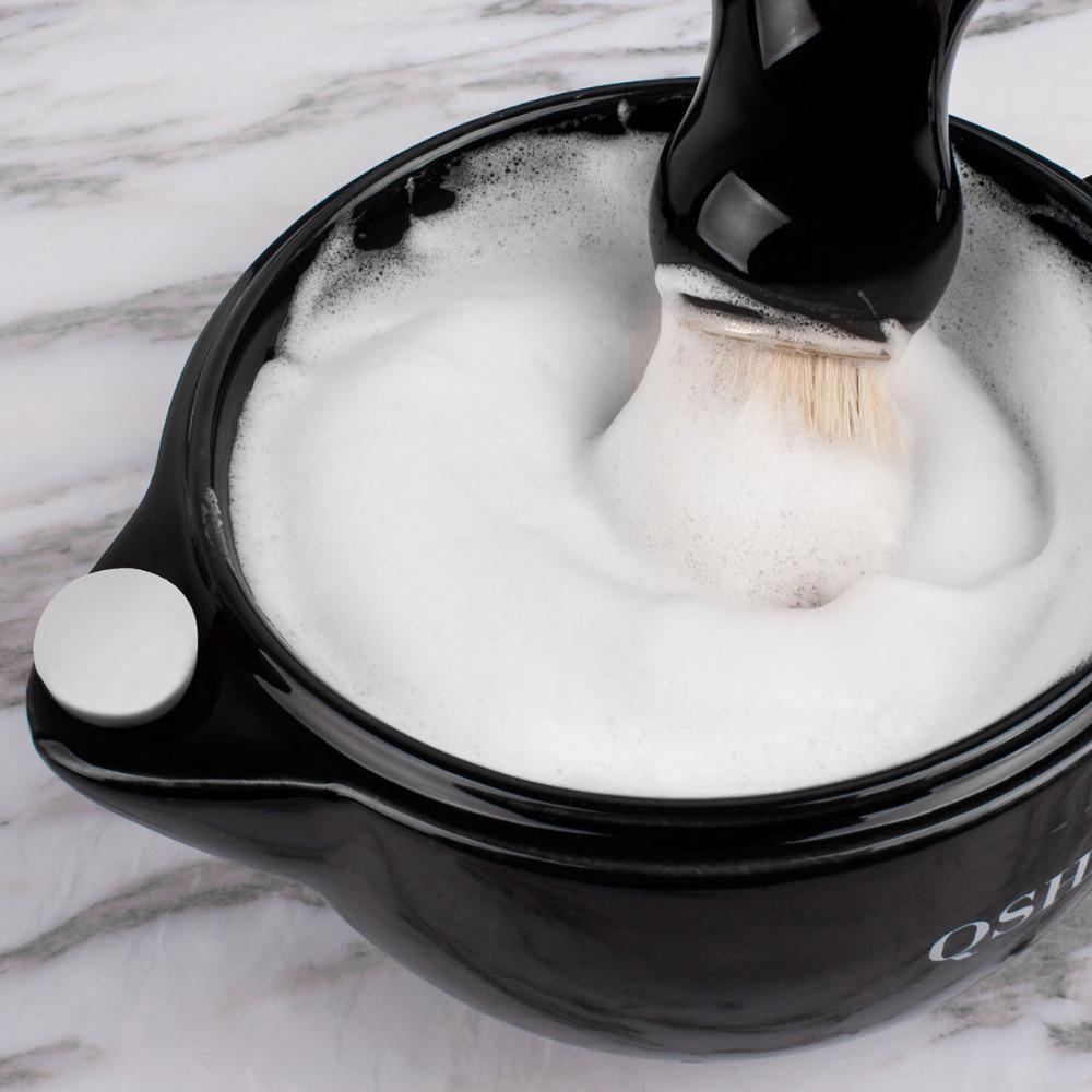 QSHAVE Razor Shaving Scuttle Mug Filled hot Water Keep Lather Always Warm It Large Size Bowl Handmade Pottery Cup Black & White 1