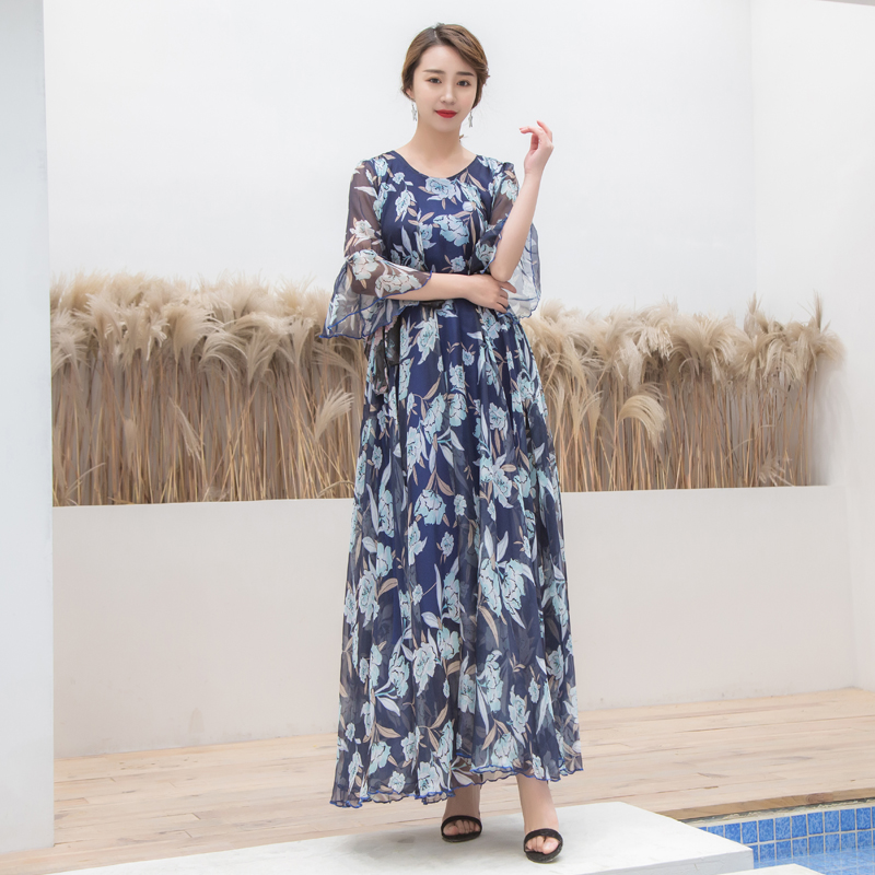 Luxury Women Vestido Dresses 2019 Spring Runway Fashion Flare Sleeve Long Dress Flower Print Loose Sundress
