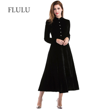 FLULU Long Sleeve Dress Women 2018 Autumn Winter Dress Women Casual Long Sleeve Velvet Dress Elegant Sexy Party Dresses Vestidos