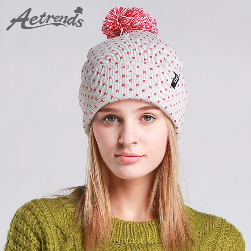 [AETRENDS] Winter Beanie Hats for Women Autumn Female Caps Beanies Pompom with Top Ball Z-3083 female caps for autumn