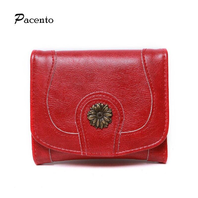 PACENTO Red Women Short Wallet 2017 New Ladies Purse Fashion Sun Flower Wallets Hasp Black Purse Vintage Style Holder Card Lady casual weaving design card holder handbag hasp wallet for women