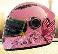 Rosado de la mariposa de las mujeres de la cara llena casco de La Motocicleta, Turbo YEMA 827 caballero Moto motocross Racing cascos, venta Caliente