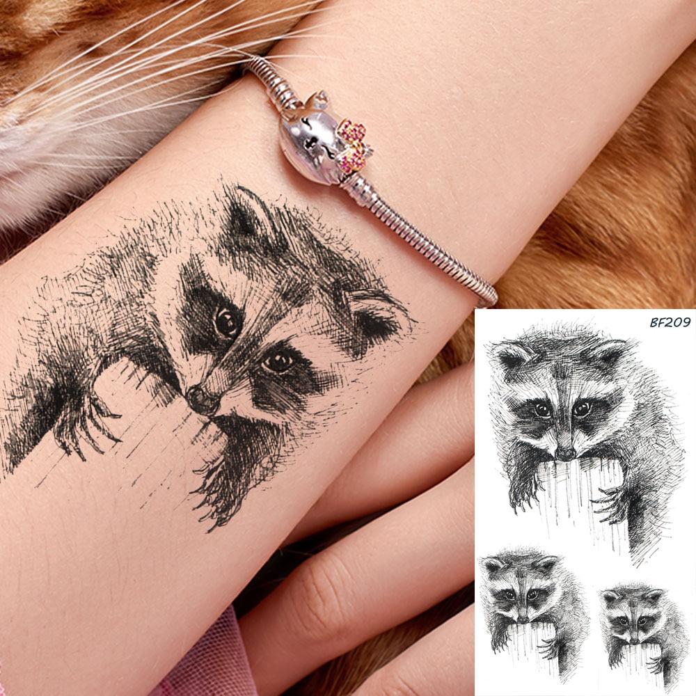 Fake Raccoon Black Waterproof Arm Koala Tattoos Stickers Sketch Body Art Cartoon Tatto Temporary Wrist Makeup Tips Tattoo Decals