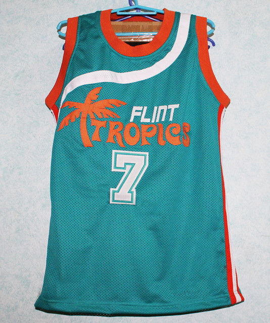 2015 HOT Sale 7  coffee black jersey Jackie Moon Flint Tropics Semi Pro  Movie basketball Jersey for free shipping cc408ef5a