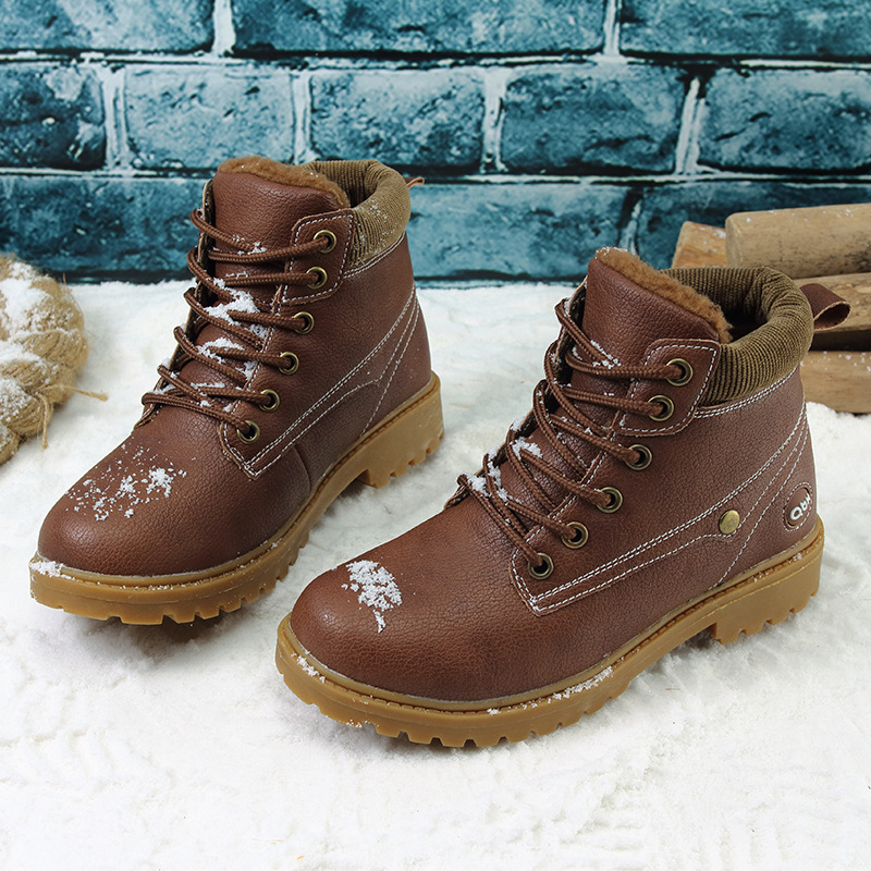 2017 Winter New Snow Boots For Boys Children Fashion Warm Shoes Kids Short Boot Child Lace Non-slip Martin Boots 2016 new winter kids snow boots children warm thick waterproof martin boots girls boys fashion soft buckle shoes baby snow boots