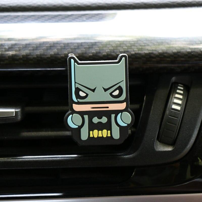 Освежитель воздуха с героями мультфильмов, автомобильный Стайлинг, духи, Мстители, Marvel, стиль для кондиционера, Вентиляционный Выход, Супермен, Бэтмен, модный, крутой