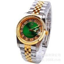 0da35d201f0 2016 Homem Mulher Casal Hk COROA Moda Casual Calendário de Quartzo Relógios  de Ouro Marca de