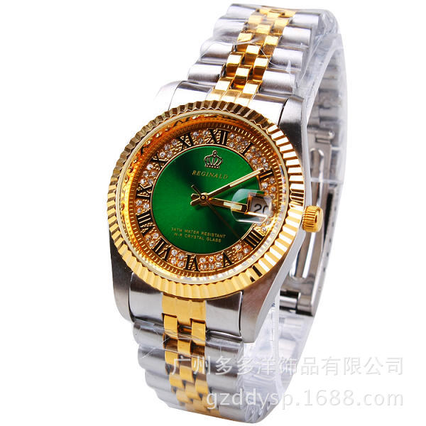 2016 여자 남자 커플 럭셔리 브랜드 크라운 패션 캐주얼 석영 달력 시계 골드 스틸 시계 Reloj Mujer Relogio Feminino