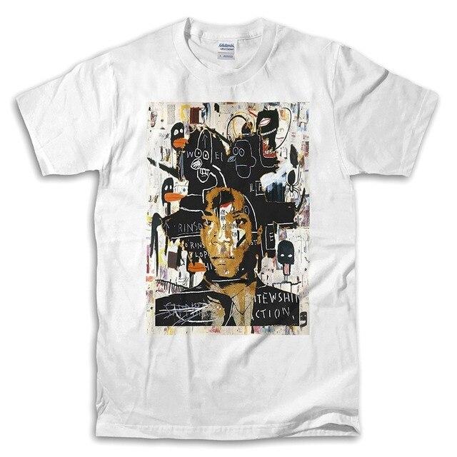 498dbe155 Sua Própria Camisa Fazendo T Jean Michel Basquiat Self Portrait Branco  Escritório Manga Para Homens