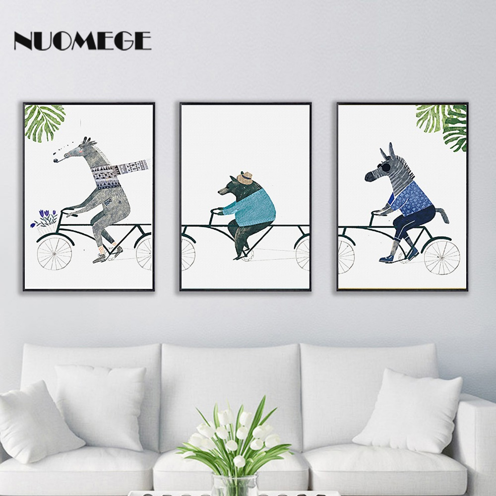 NUOMEGE Scandinavian Animals Poster Minimalist Abstract Wall Art Nursery Decorative pictures Cute Paintings For Kids Room Decor