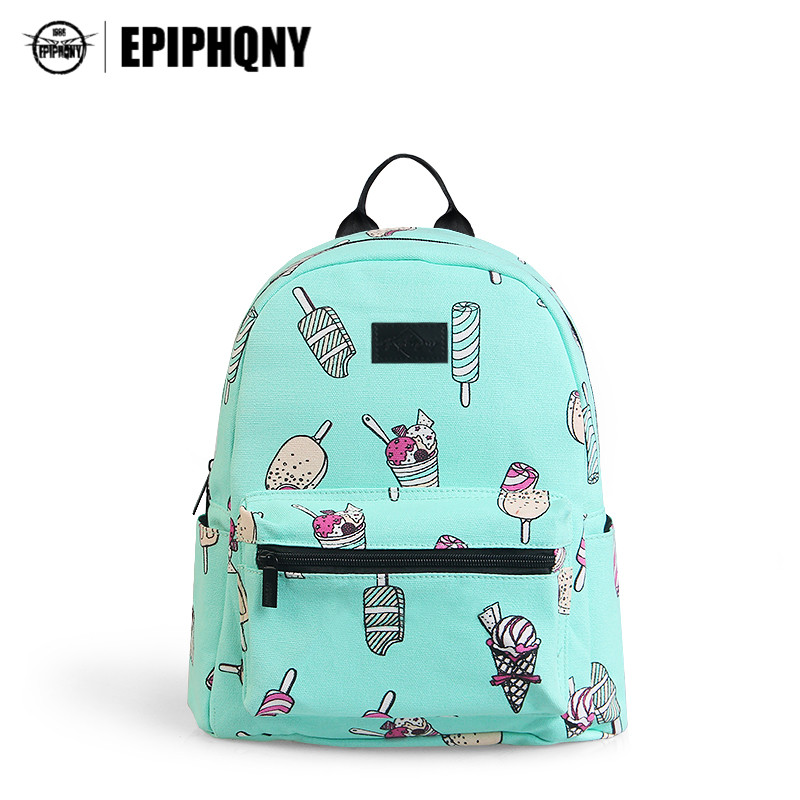 Epiphqny Brand Cute Backpack Ice Cream Food Printing Backpacks for School Mint Green Fresh Bagpack Cartoon Candy Sweet Women