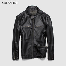 CARANFIER Fashion Leather Motorcycle Coat Male Genuine Sheepskin Clothing Short Design Real Jackets Overcoats