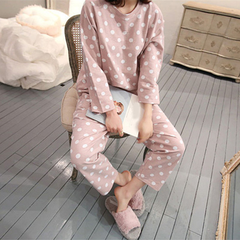 Polka Dot Cute Sweet Women Pajamas Set Soft Long Sleeve O-neck Pants Women's Home Clothes  2019 Spring Sweet Female Nightie XXL