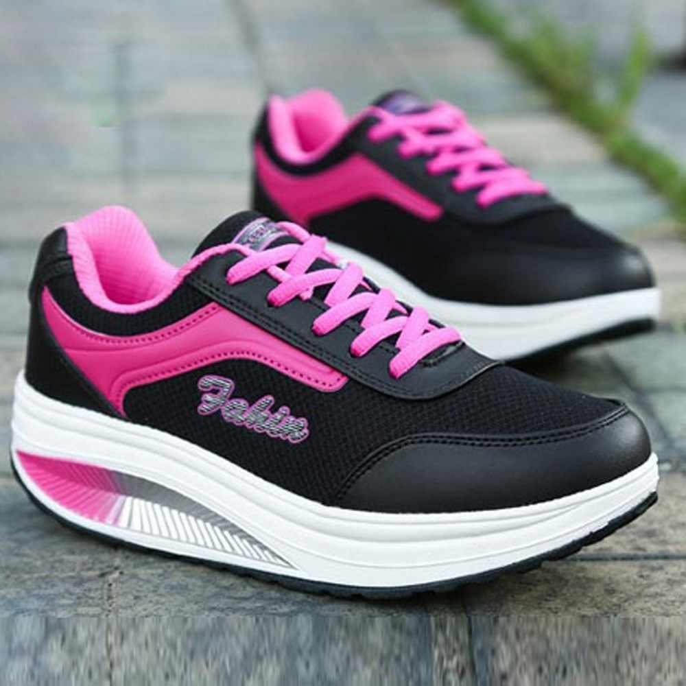 KANCOOLD אופנה נשים רשת נעלי התעצמות רך תחתון נדנדה נעלי הגדלת ללבוש עמיד להחליק עור סניקרס