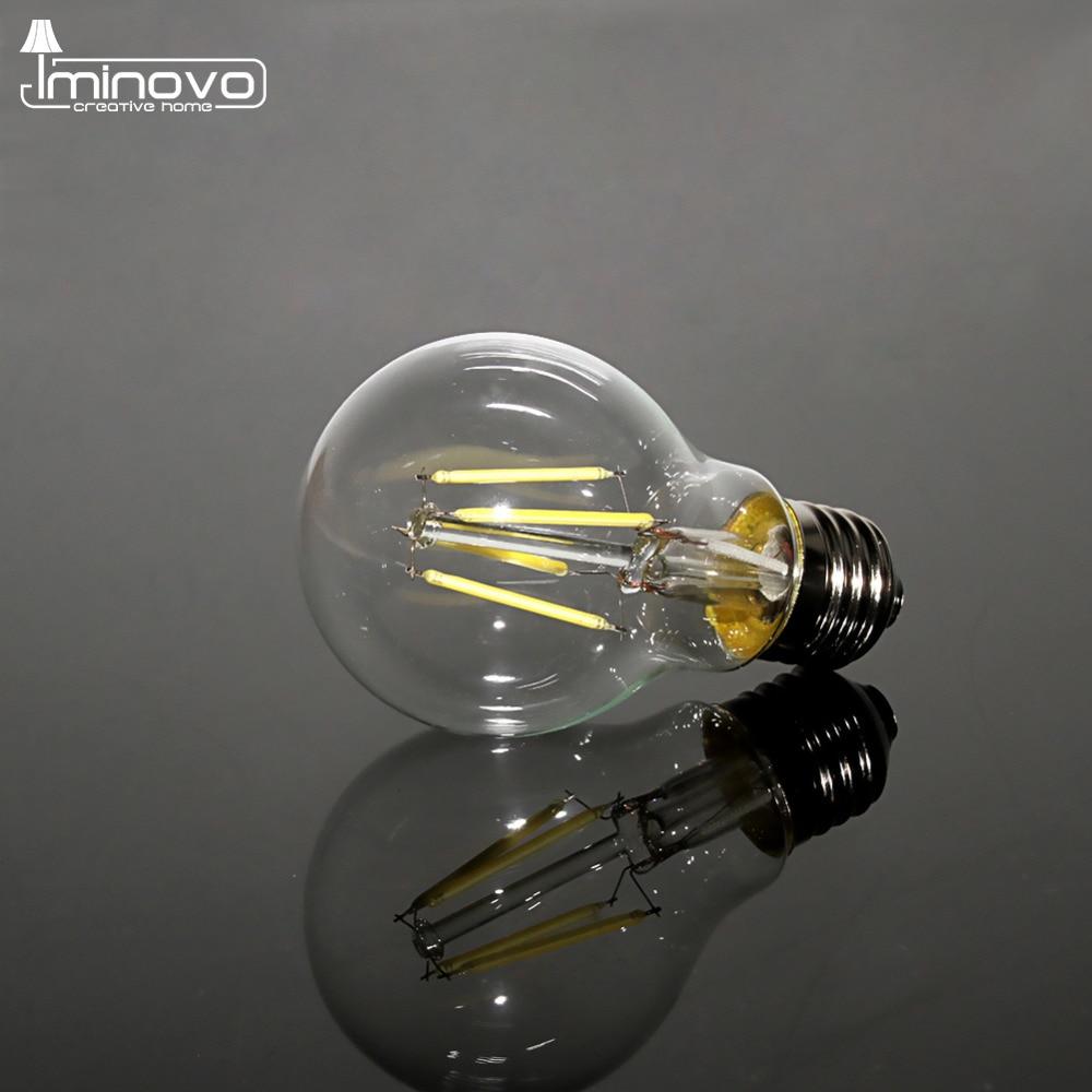 IMINOVO 20 Pcs Retro LED Filament Bulb Light E27 A60 Dimmable 4W 6W 8W 110V 220V Replace 20W 40W 60W Incandescent Lamp Lighting g95 e27 25 40 60 75 watt w 25w 40w 60w 75w incandescent equal g30 e26 silver cap chrome tip led filament bulb 4 6 8 w 4w 6w 8w