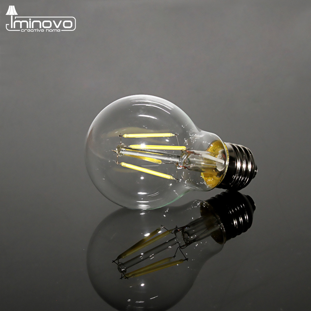IMINOVO 20 Pcs Retro LED Filament Bulb Light E27 A60 Dimmable 4W 6W 8W 110V 220V Replace 20W 40W 60W Incandescent Lamp Lighting