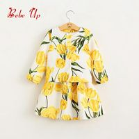 2 Pieces Baby Girls Spring Princess Clothing Sets Full Sleeve Outerwear Cute Flower Floral Summer Dresses