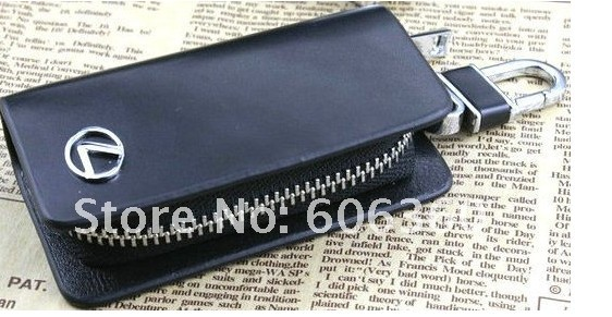 free shipping! Black Leather Zipper Key Case Key Bag Wallet Cover