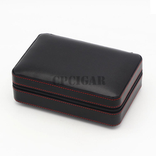 Portable Cedar Wood Lined Leather Travel Cigar Humidor Case 4 Cigars Holder 3 Flame Jet Torch Windproof Cigarette Ligter Cutter