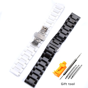 Image 2 - 12/14/16/18/20/22mm Shine for Samsung Gear S2/S3 Watchband Quality Ceramic Watch Strap Luxury Metal Bracelet for Huawei Watch 2