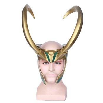 Halloween Cosplay Loki PVC Maschera Mezza Maschera-Corna D'oro Gigante Casco Loki Maschera Cosplay Per Adulti