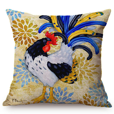 Colorful Cock Oil Painting Art Chicken Rooster Throw Pillow Cover Home Decorative Cotton Linen Sofa Cushion Cover Car Pillowcase M093-4