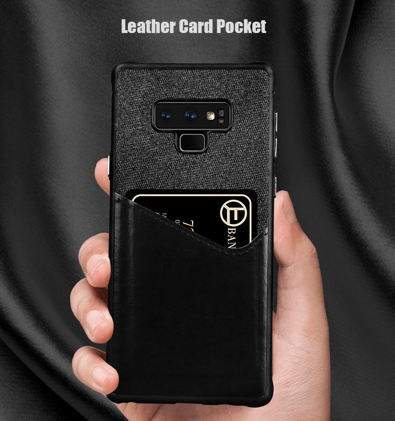 Luxury Business Cloth+leather Wallet Case for samsung note 9 8 with Card Pocket Cover for samsung galaxy S8 S9 Plus case Coque   (2)
