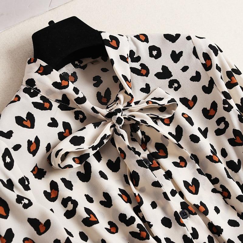 Plissé Manches Impression De Longues Nouvelle Supérieure Mi Beige Printemps Designer Motifs Col 2019 Léopard Femmes Arc Qualité mollet Robe Mode qzOva5znC