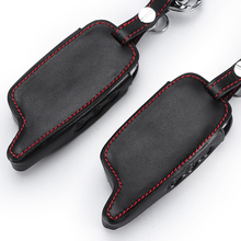 A6 A9 LCD Remote Controller Keychain Leather Cover For Two Way Car Alar