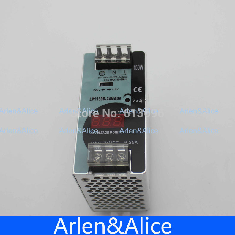 150W 24V 6.25A  Mini size Din Rail Single Output Switching power supply with voltmeter voltage display montior 100-240V input150W 24V 6.25A  Mini size Din Rail Single Output Switching power supply with voltmeter voltage display montior 100-240V input