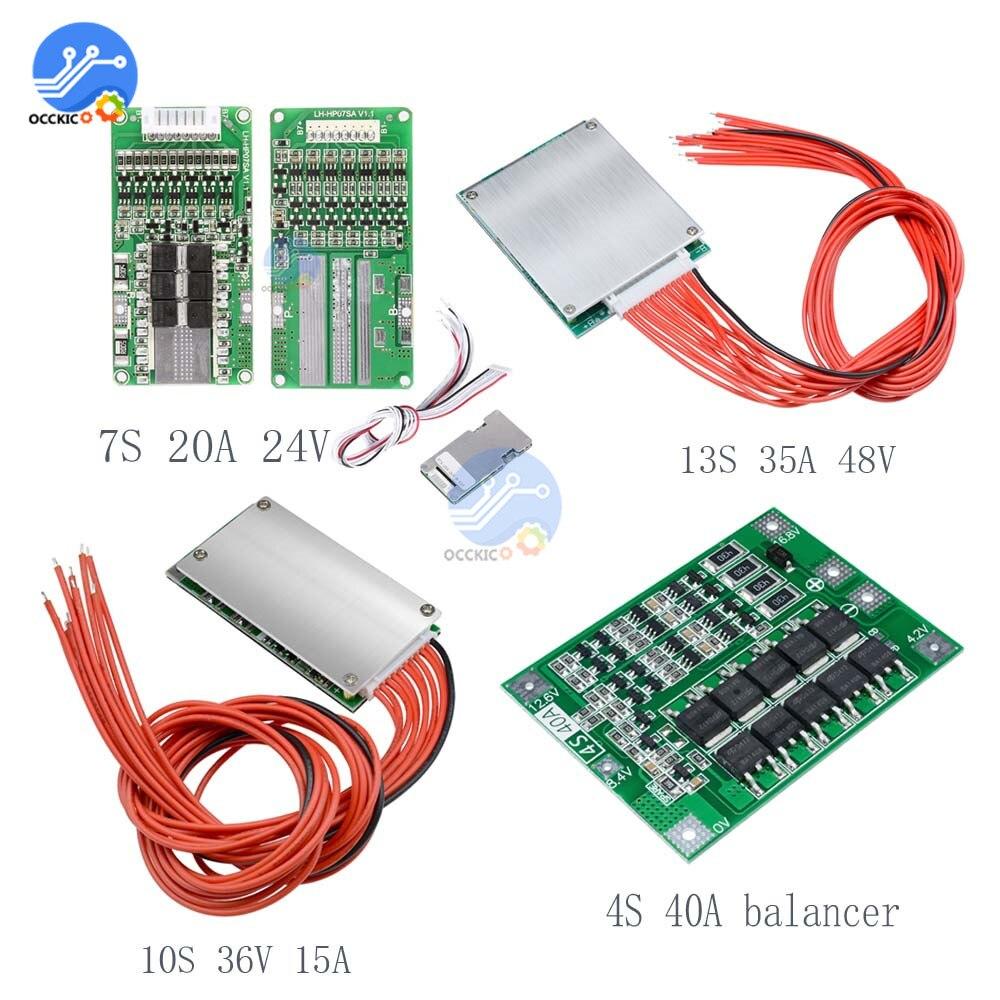 BMS 4S 40A/7S 20A 24 V/10 S 36V 15A/13S 35A 48V 18650 ליתיום סוללה הגנת איזון לוח כוח בנק מטען עבור Arduino