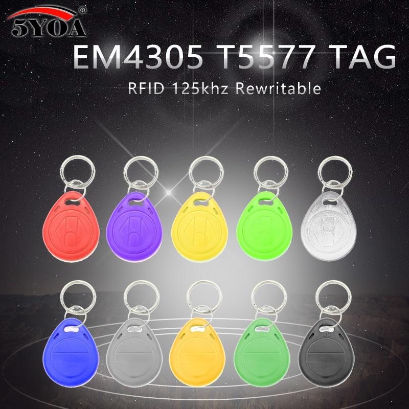 50pcs EM4305 T5577 Copy Rewritable Writable Rewrite Duplicate RFID Tag Can Copy EM4100 125khz Card Proximity Token Keyfobs Ring