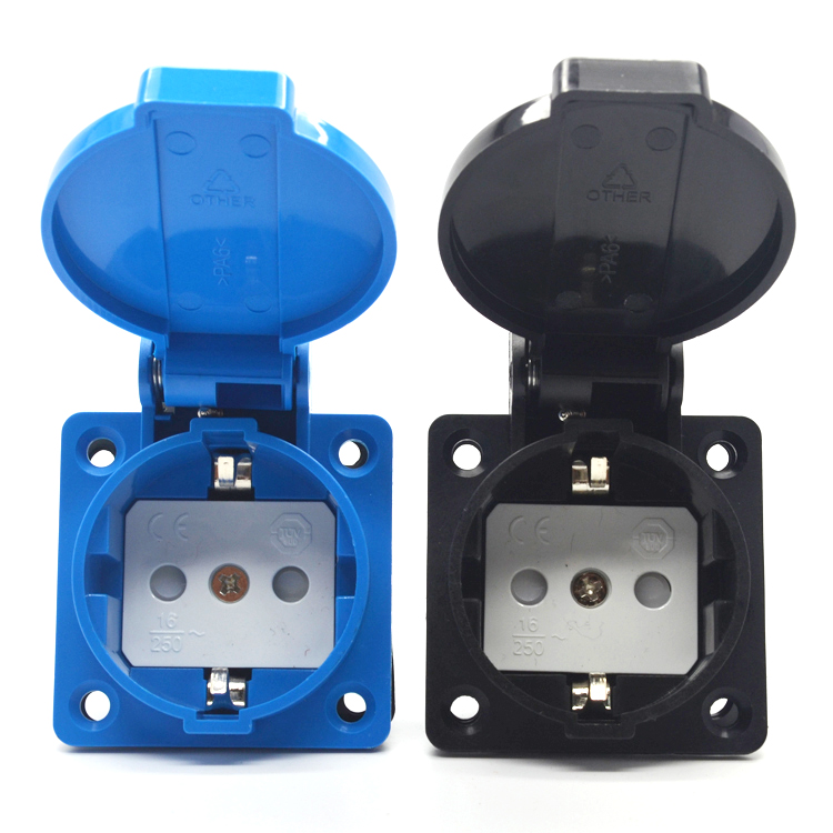 Euro 16A 250V PA66 Blue/Black IP44 Generator Control Panel Germany industry waterproof socket EU wire connector plug 2pcs ac 200v 250v 16a ip44 2p e 3 terminal female industrial caravan panel socket
