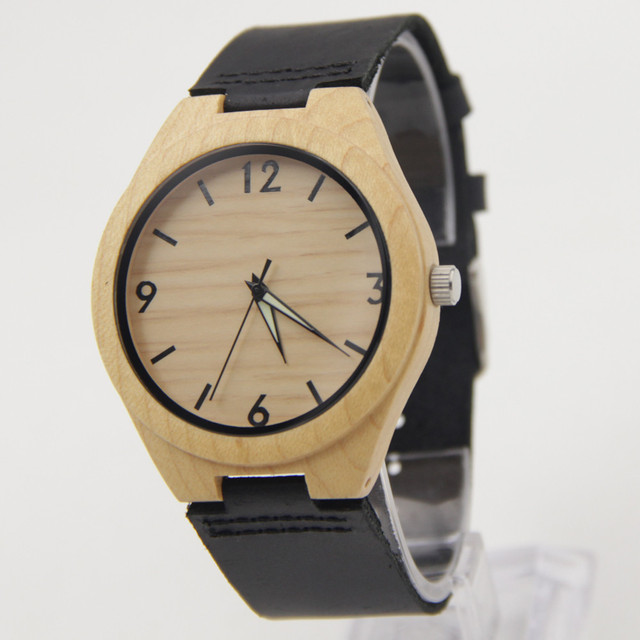 New Arrival Hot Marketing 2016 Fashion Men Leather Bamboo Wooden Quartz Watches  Christmas Gift for Husband Import Japenese Qua