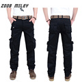 ZOOB MILEY Casual Cargo Pants Men Baggy Loose Fit Multi-Pockets Solid Color Trousers Full Length Plus Size 100%COTTON (No Belt)
