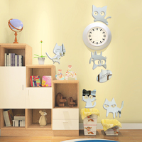 Modern Decorative Animal Hello Cat Wall Stickers For Kids Rooms Bedroom Background Acrylic Decor Stickers Pegatinas De Pared