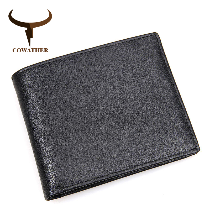COWATHER High Quality Cow Genuine Leather Men Wallets Fashion Style  Male Purse RFID Free Shipping