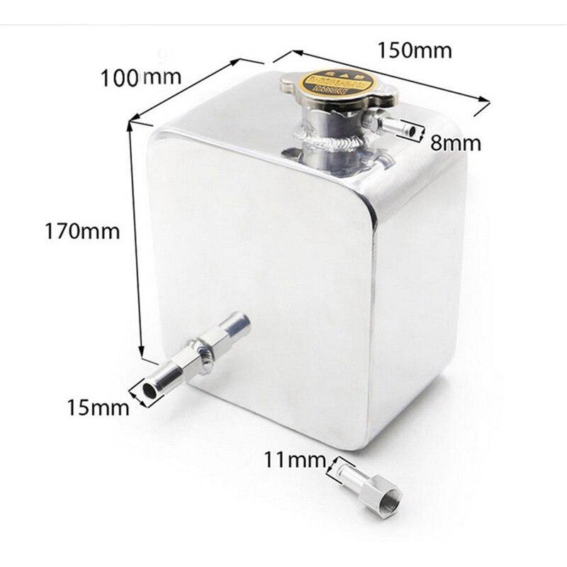 1 pc 2.5L réservoir d'eau avec vis accessoires haute qualité argent aluminium 170x50mm 100mm profondeur voiture Expansion réservoir d'eau Kit - 2