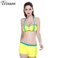 Women 2016 New Sexy Bandage Halter Top Strappy Bikinis Set Padded Push Up Swimsuit Two Pieces
