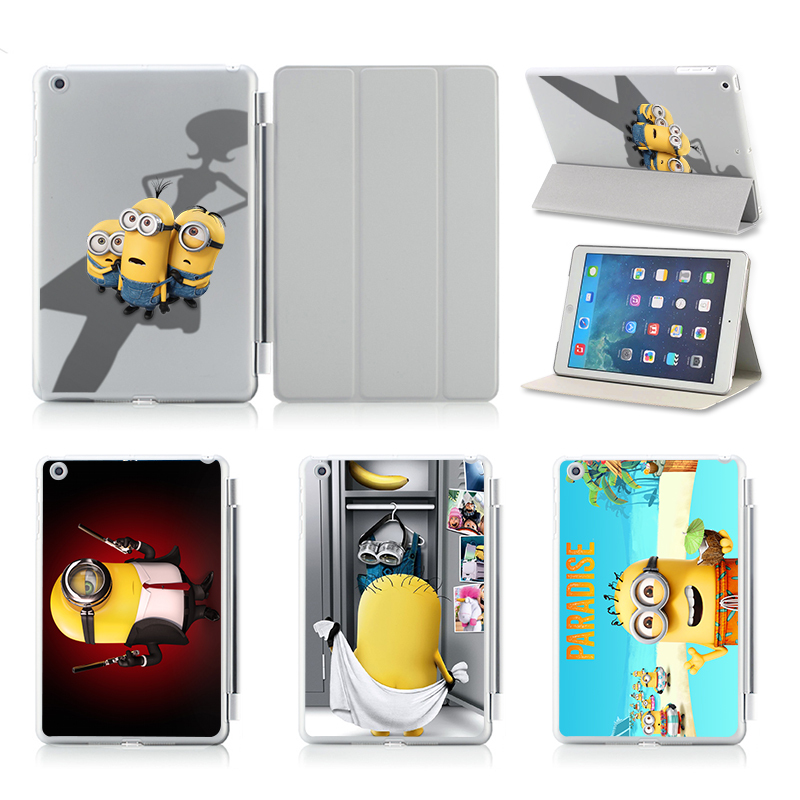 Cute Cartoon Minions Hot Sale For Ipad Air Smart Case Cover Stand Tablet Designer Leather Cover