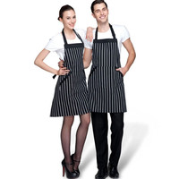 Adjustable Black White Stripe Bib Apron With 2 Pockets Chef Kitchen Cook Tool