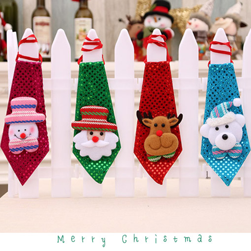 1pc Diy Craft Toy Christmas Tie Toys Sequins Santa Claus Snowman Miludeer Bear Pattern For Party Christmas Toys Gift For Kids