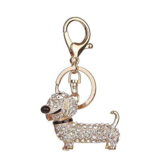 164435589d Rhinestone Crystal Cute Dog Dachshund Keychain Bag Charm Pendant Key Chains  Holder Key Ring Jewelry For