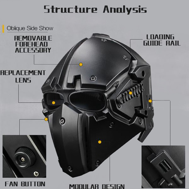 Motor Full Face Helmet Protective Obsidian Casque For Motorcycle Tactical Military Training Polymer Engineering Materials - 6