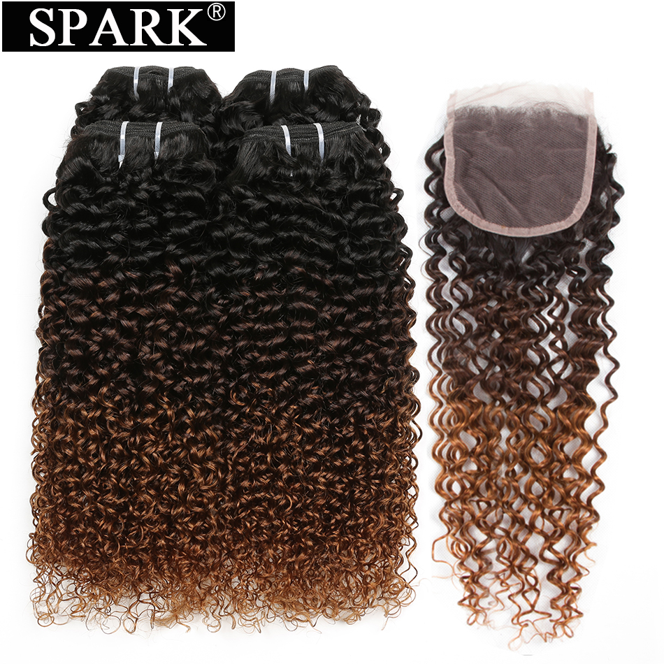 SPARK Ombre Human Hair Bundles with Lace Closure Malaysia Kinky Curly 3/4 Bundles with Closure Middle Part 1B/4/30 Remy Hair