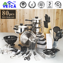 2017 Panelas De Ceramica Arrival Fda Top Fashion Real Cookware Cooking Pots And Pans Set 80 Piece Kitchen Starter Combo Utensil