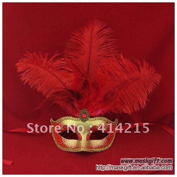 13 дюймов Красивая красный и золотой венецианские маски, итальянский маска, маска из ПВХ(A009