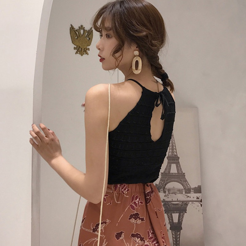 Women Sleeveless O-Neck Pullover Hollow Out Knitted Tank Top 4
